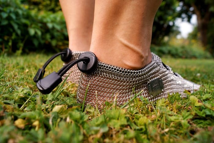 Chainmail Barefoot Shoes Rear Shoelace Grass Feel