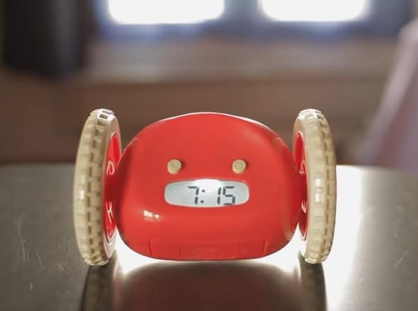 Clocky Alarm Clock The Clock the Runs Away Cute Red Alarm White Bike Wheels