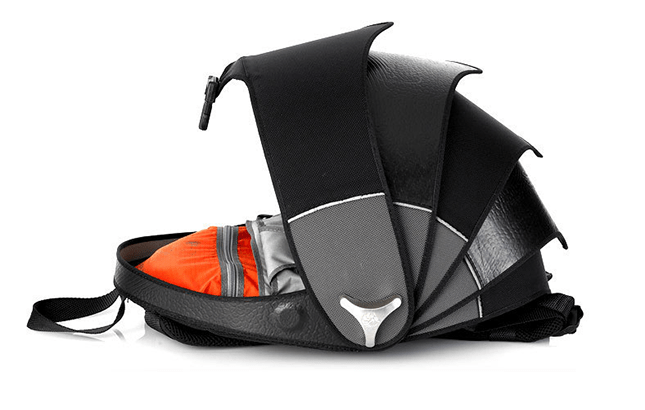 Cyclus Pangolin Backpack made of reused tyre inner tubes Open from Xmen Days of Future Past Stylish Travel Bag