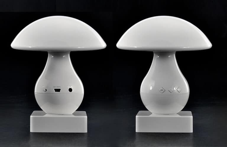 Entalent Touch Controlled Mushroom LED Lamp & Bluetooth Speaker Front and Back