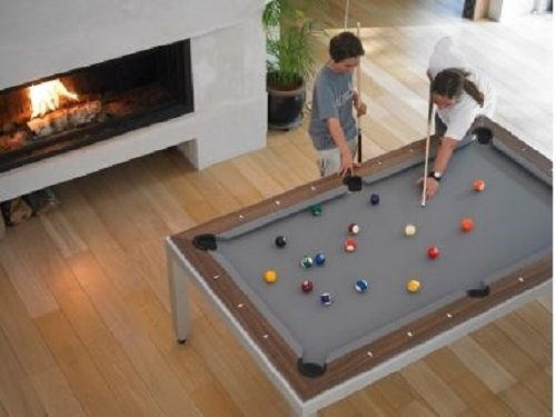Fusion Pool Table And Dining Table Family Bonding near Fireplace