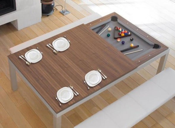 Fusion-Pool-Table-And-Dining-Table-Hidden-Amusement Cool Stuff to Buy for Home