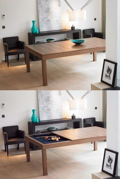 Fusion Pool Table And Dining Table Hidden Amusement Minimalistic Design Cool Party Billiard Game