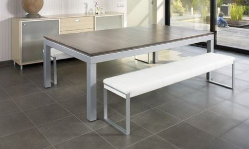 Fusion Pool Table And Dining Table Natural Top and White Cushion Bench