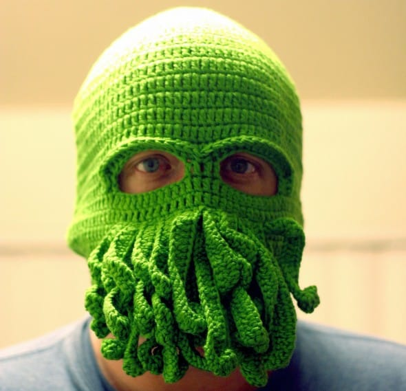 Handmade Cthulhu Ski Mask Weird Green Tentacle Novelty Item