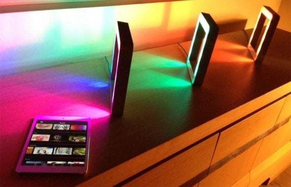 Holi The Smart Connected LED Mood Lamp Control Gadget Using Black iPhone and Android Phones Awesome Lighting