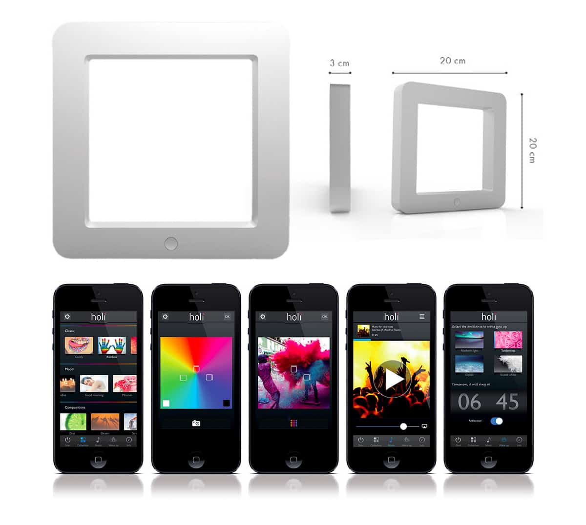 Holi The Smart Connected LED Mood Lamp Control Gadget Using Black iPhone and Android Phones White Frame Dimensions