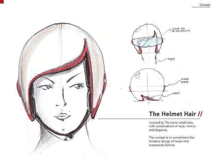 Luxy Vespa Motorcycle Helmet Rough Sketches Product Design