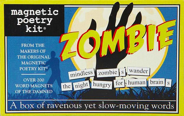 Magnetic Poetry Kit Zombie Haloween Board Fridge Game to Play with Fids and Family Zombie Green Box