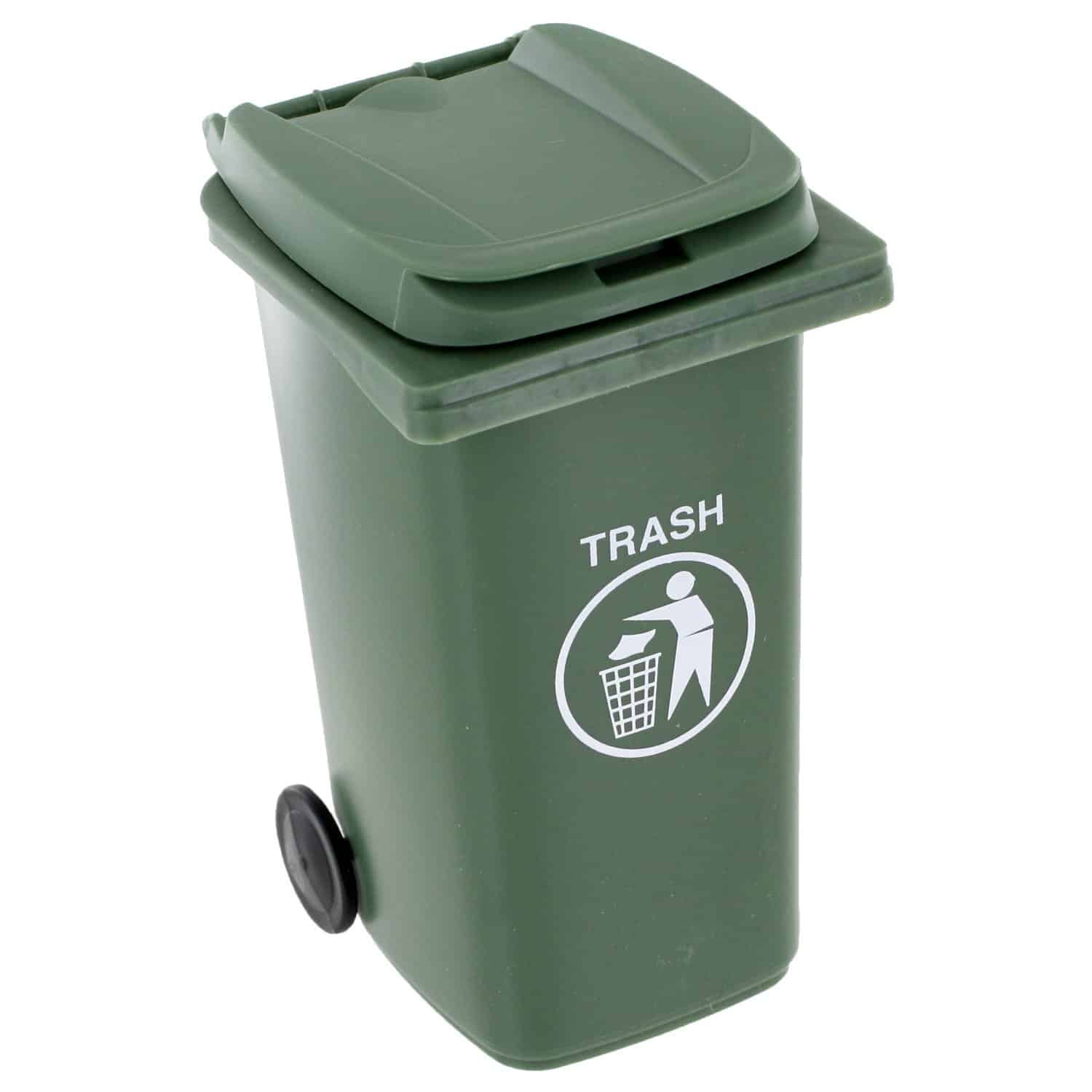 Mini Curbside Trash and Recycle Can Set Army Green Plastic Bin