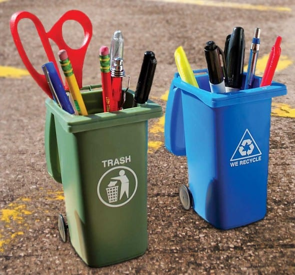 Mini Curbside Trash and Recycle Can Set Buy Cool Desk Accessory Holder