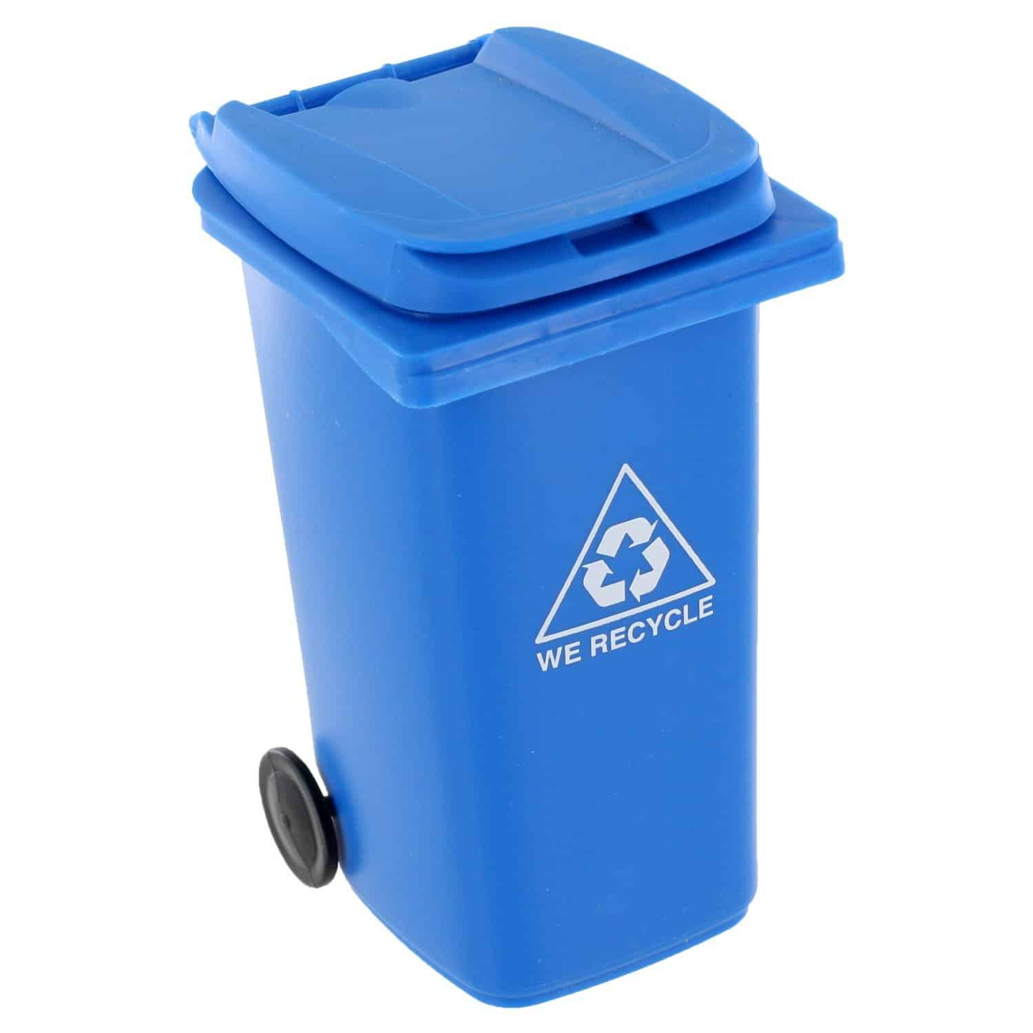 Mini Curbside Trash and Recycle Can Set Cute Little Blue Plastic