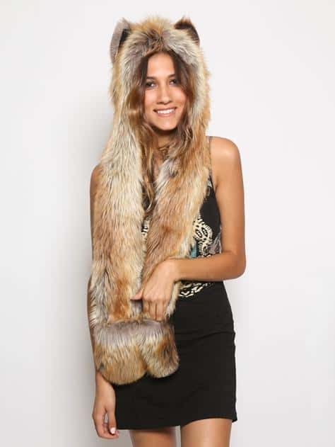 Red Fox Full Hood Animal Hat Comfy Faux Fur Novelty Hoodie