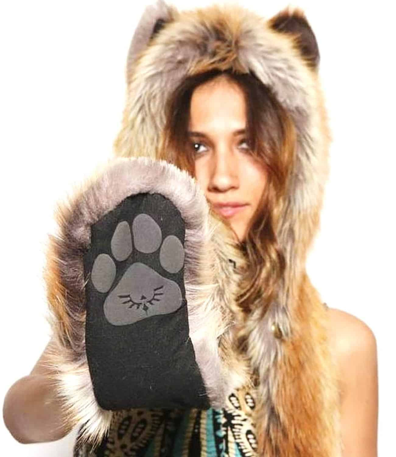 Red Fox Full Hood Animal Hat Cute Black Paw Print Plush Fur