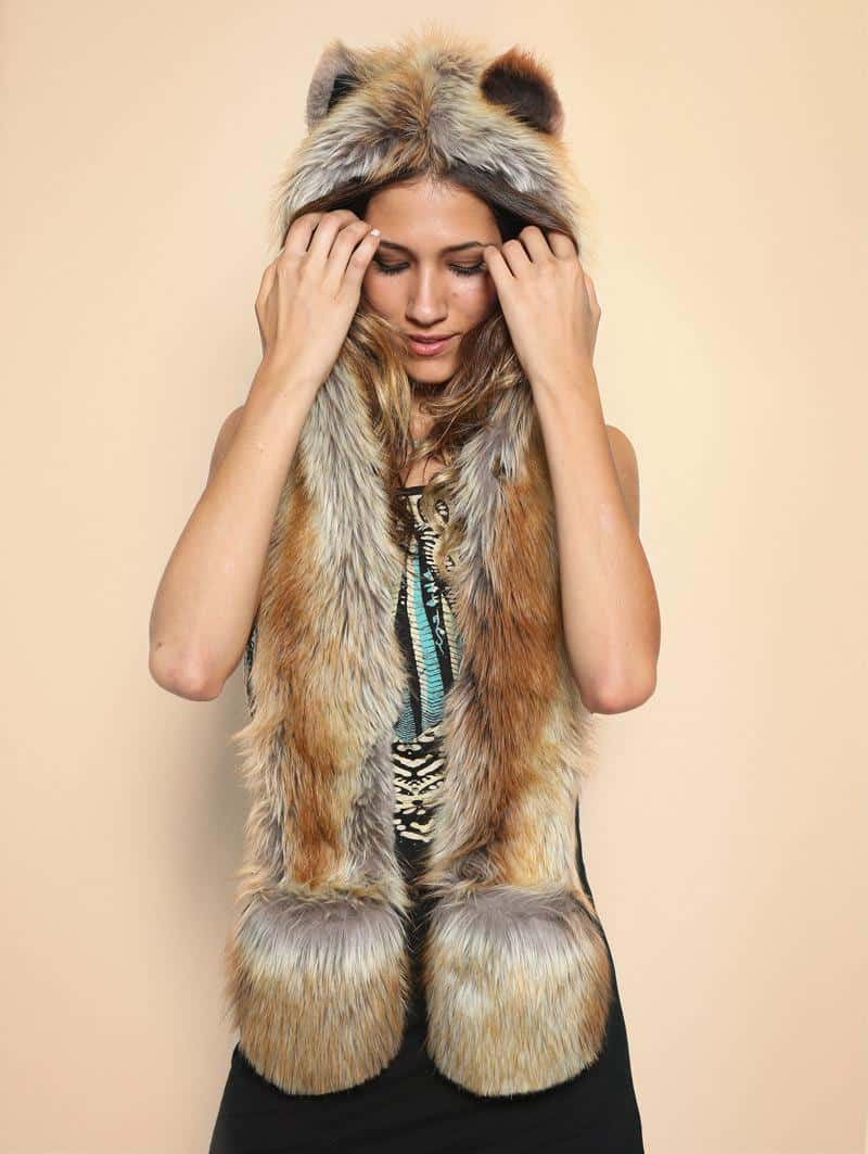 Red Fox Full Hood Animal Hat Cute Hat for Her Faux Fur