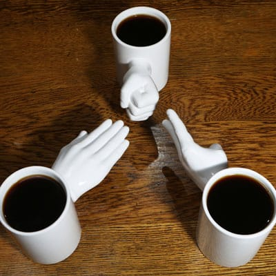 Rock, Paper, Scissors Mug Set Three Players Fun Coffee Drink
