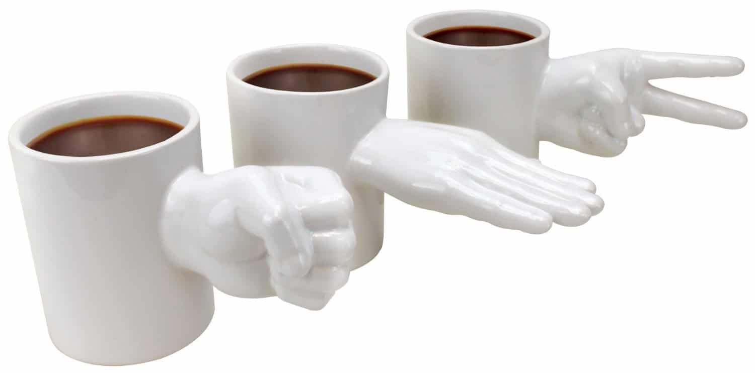 Rock, Paper, Scissors Mug Set Weird Ceramic White Hand Gestures