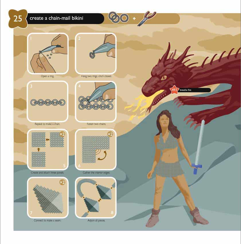 Show Me How 500 Things You Should Know Instructions for Life from the Everyday to the Exotic Geek Cosplay How to Make a Chain Mail Bikini Page with Red Dragon