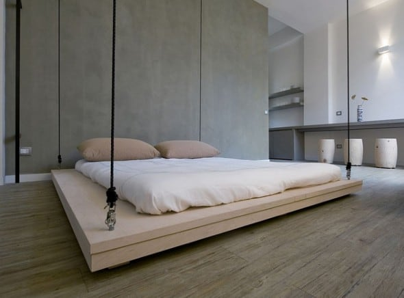 Space Saving Bed Minimalistic Design Can be Raised to Ceiling