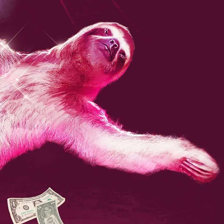 Stripper Sloth Shower Curtain Dollar Bill Detail