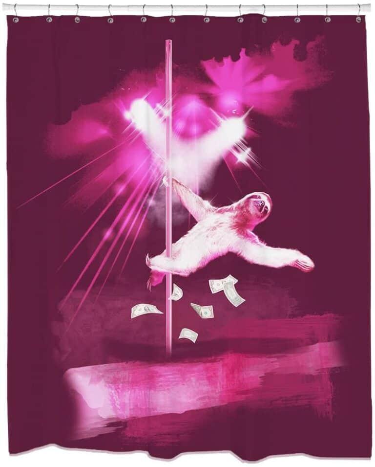 Stripper Sloth Shower Curtain Funny Animal Design