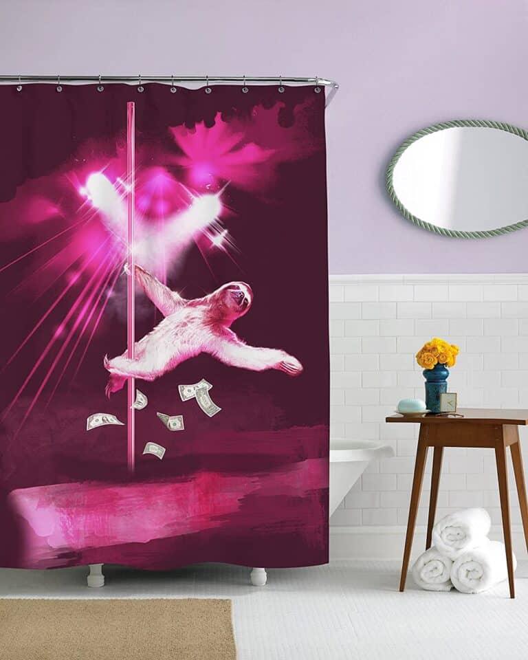 Stripper Sloth Shower Curtain Humorous Gag Gift Idea