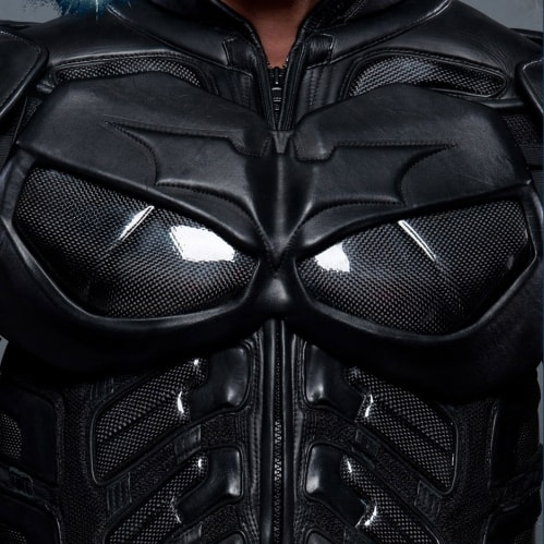 The Dark Knight Rises Batman Motorcycle Suit Jacket Shiny Black Body Armor Officially Licensed Bat Logo