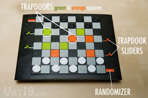 Trapdoor Checkers Board Game Labels Trapdoor Slides and Randomizer