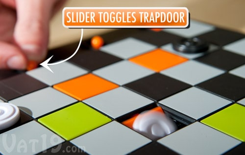 Trapdoor Checkers Board Game Sliders Panel Function