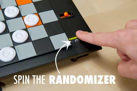Trapdoor Checkers Board Game Spin the Randomizer with the Index Finger