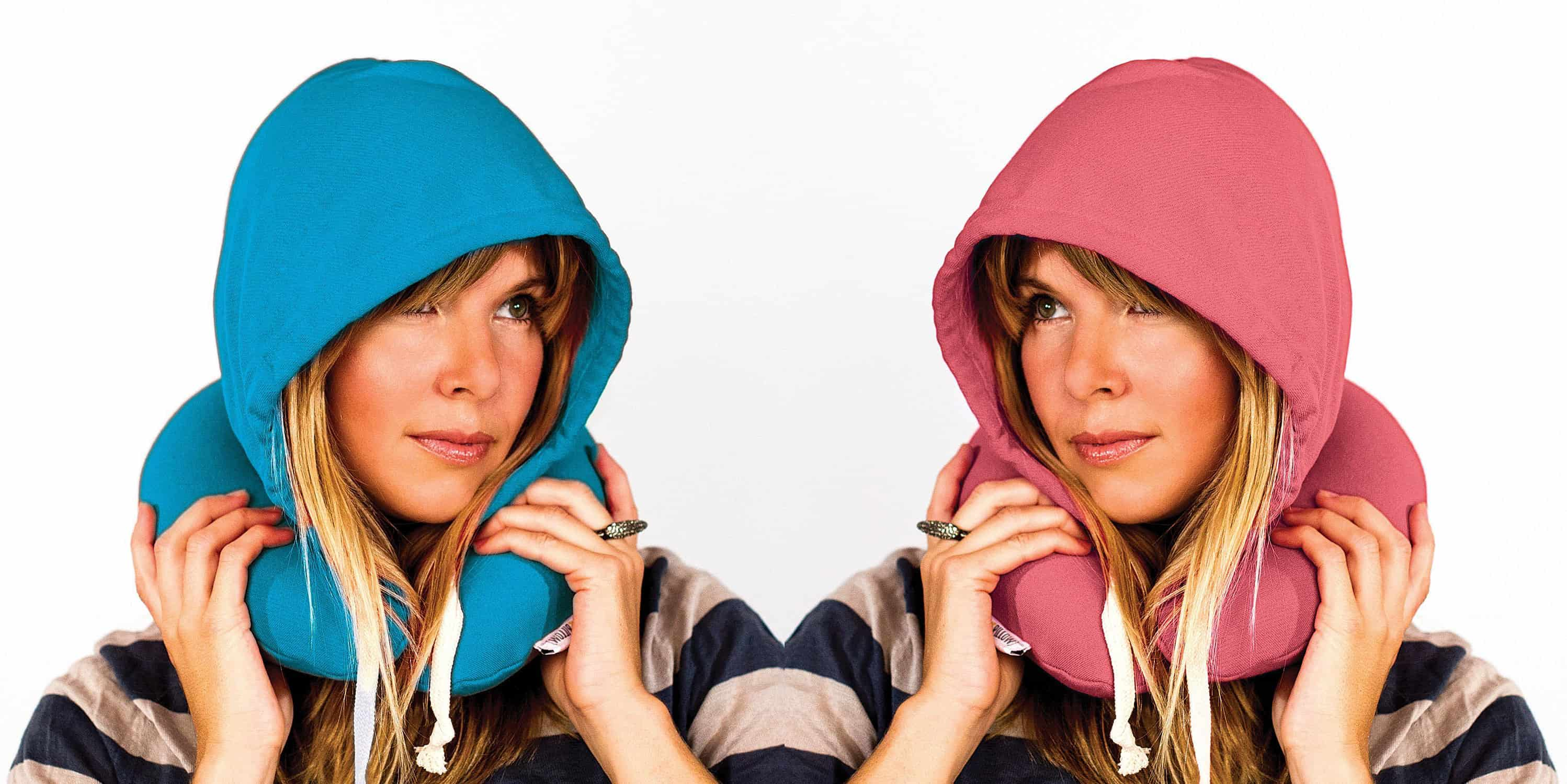 Travel HoodiePillow Novelty Item Pink and Blue Gift for Travellers