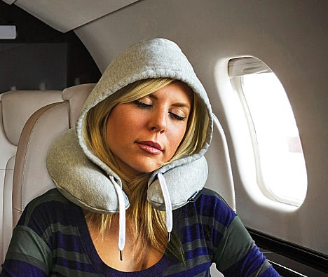 Travel HoodiePillow Sleeping Comfortably in a Plane Interesting Product Idea
