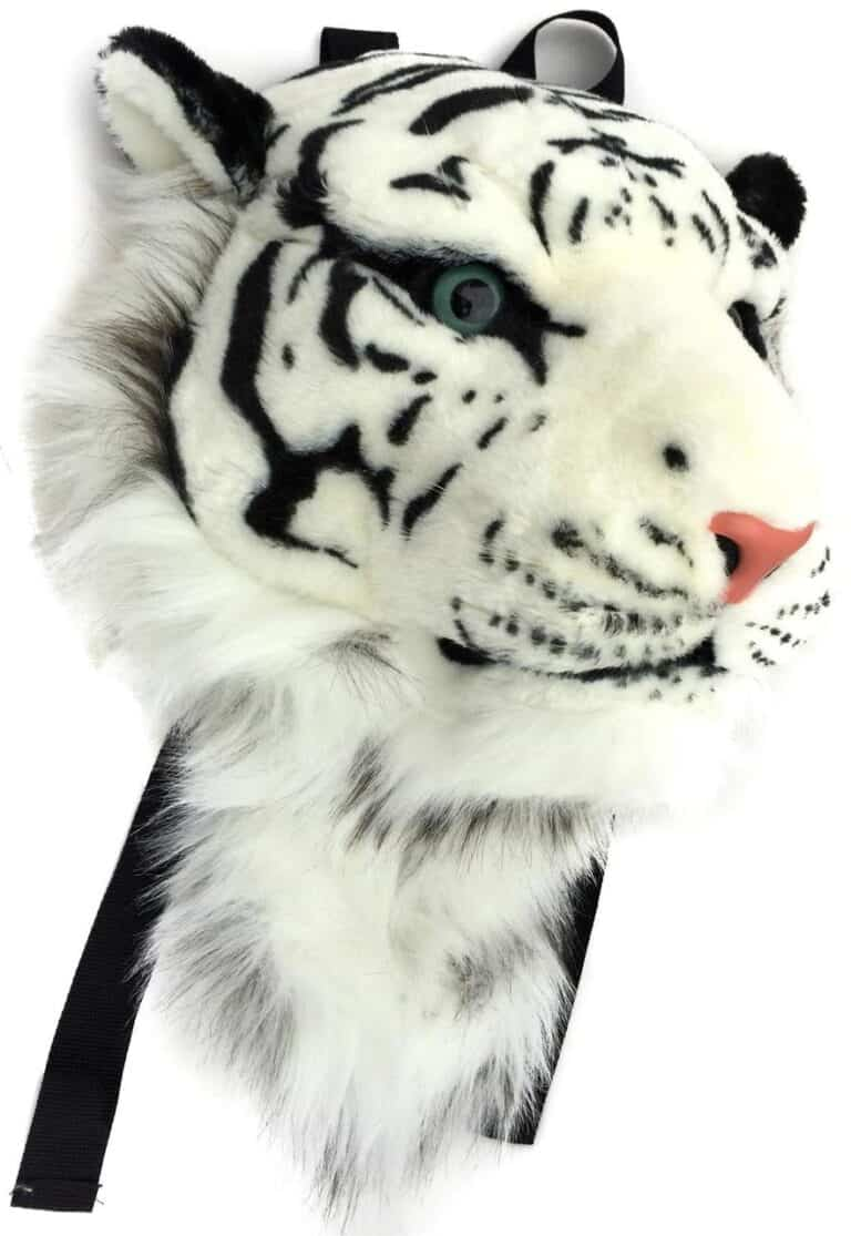 VIAHART Tigerdome White Siberian Tiger Animal Head Furry Backpack