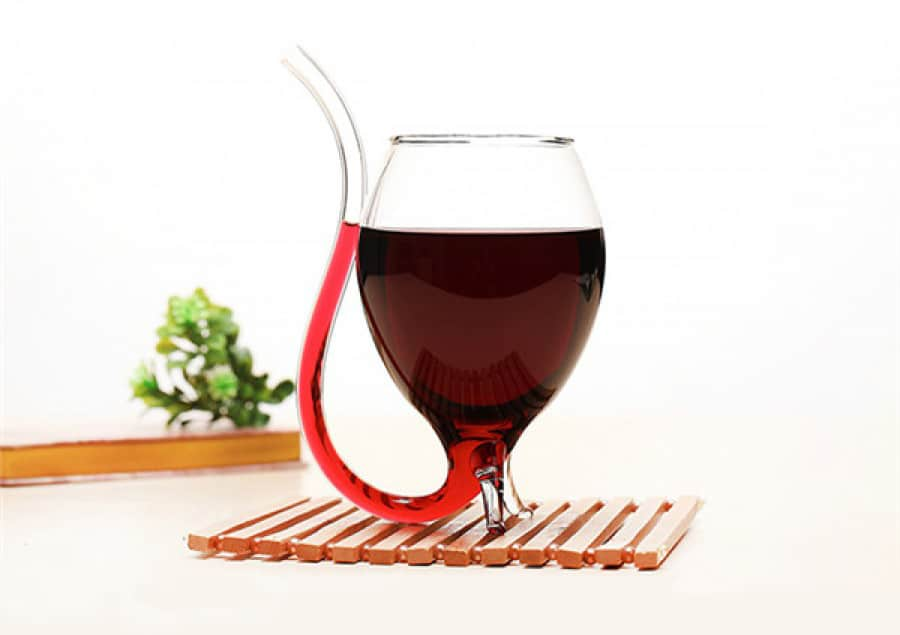 Vampire Wine Glass With tiny Feet and Glass Straw