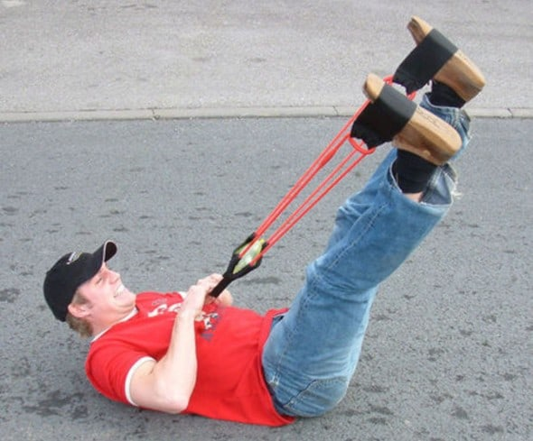 Man-powered water balloon launcher.