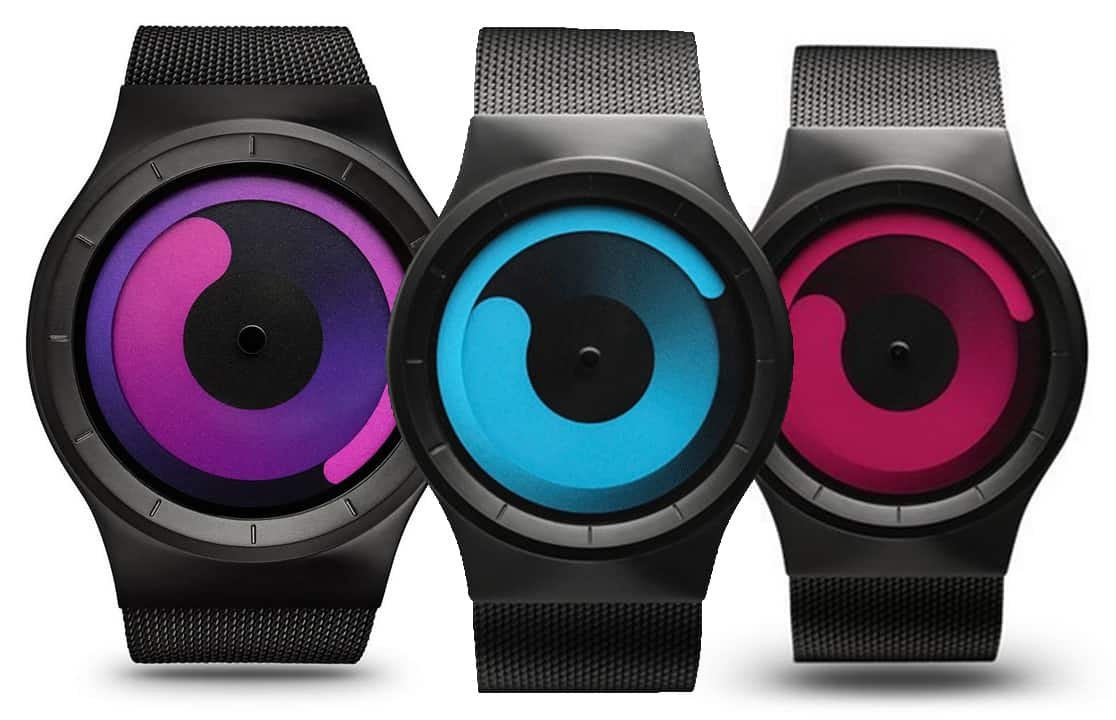 Ziiiro Mercury Watch Black Ocean Purple Magenta Swirl Trendy Watch Minimalist Unique Product