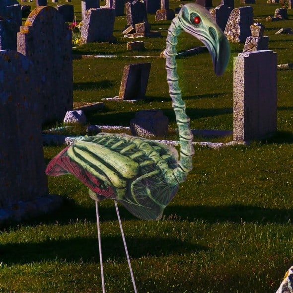 Zombi Flamingo Halloween Decoration Lawn Backyard Weird Stuff to Buy Undead Bird