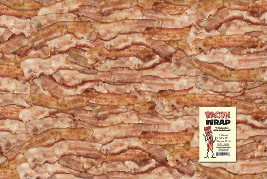 Bacon Gift Wrap Novelty Funny Wraper Raw Meat Texture