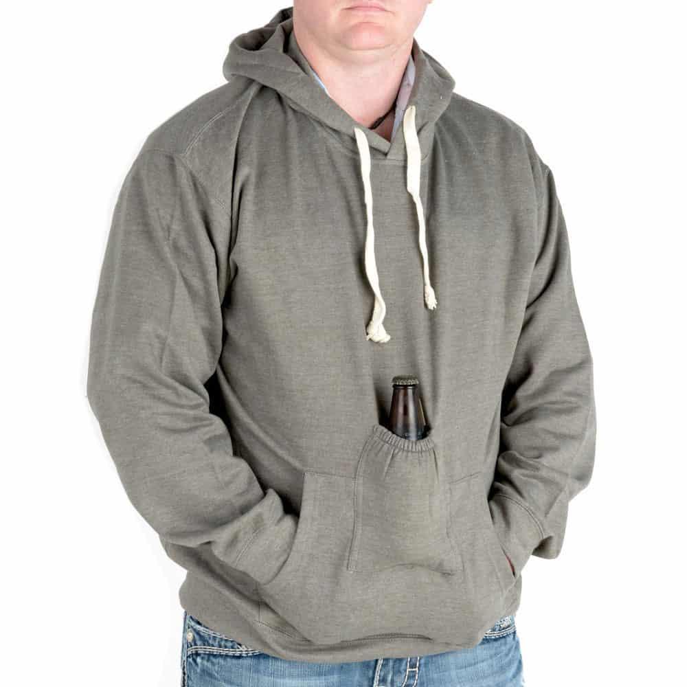 Beer Pouch Hoodie Sweatshirt Grey Cool Gift for Boyfriend
