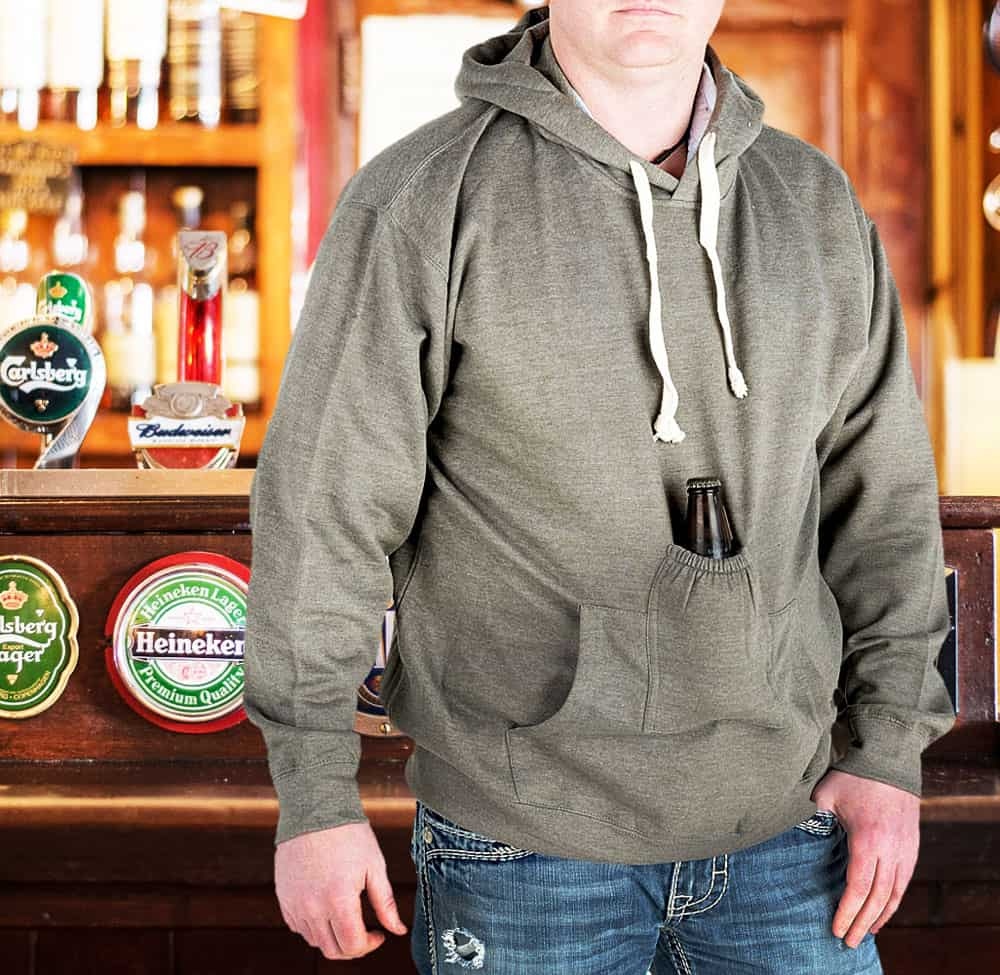 Know any cool sweatshirt that will hold your beer for you?