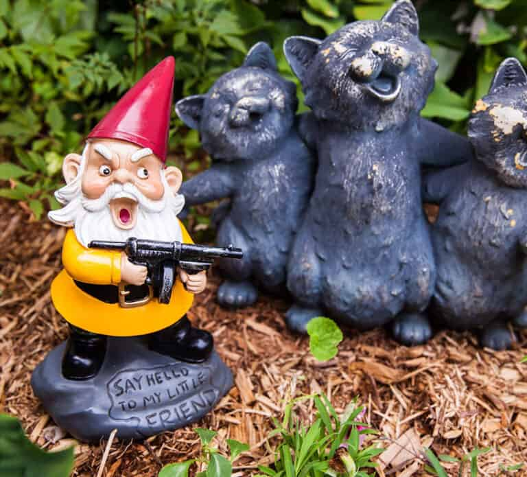 Bigmouth Angry Little Garden Gnome Funny Movie Quote Say Hello to My Little Friend