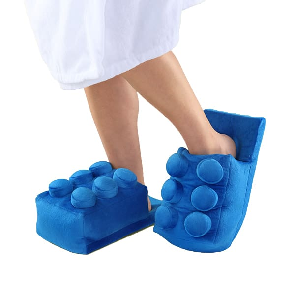 Building Brick Slippers Blue Lego Theme Gift Idea for Moms