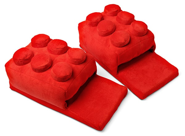 Building Brick Slippers Cute Red Lego Theme