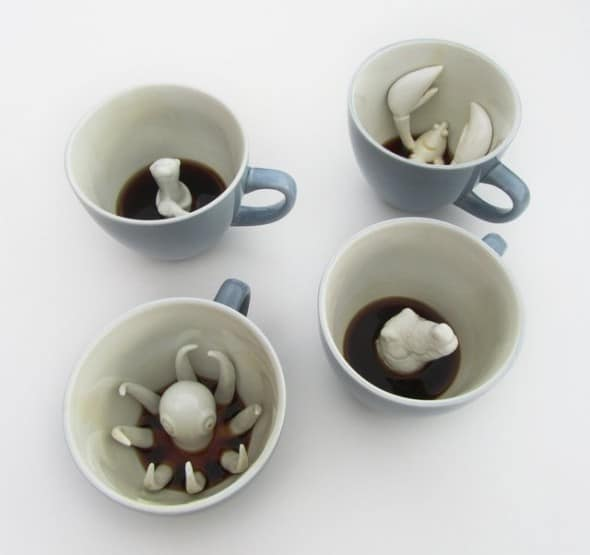 Creature Cups Ceramic Mug Animals swimming in your Coffee
