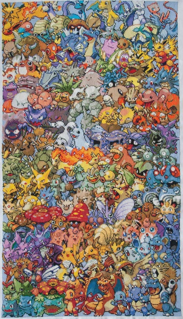 Cross-stitched Pokemon First Generation Handmade Artwork