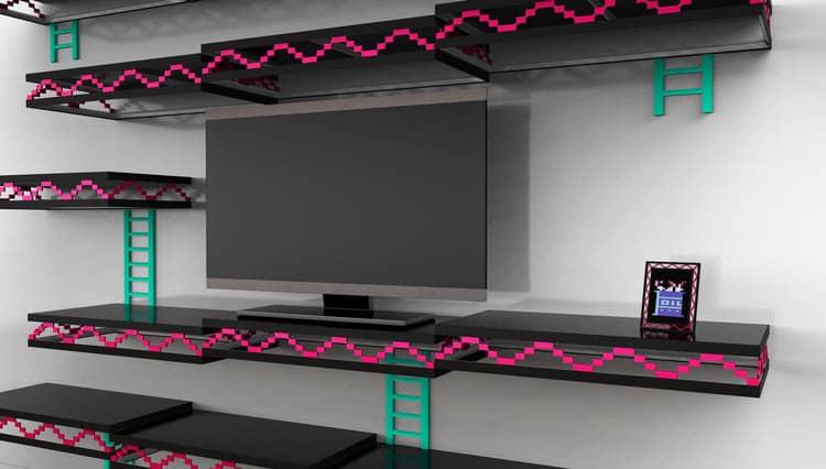 Donkey Kong Wall Green Ladders Pink Rebars and Black Shelves