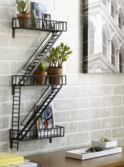 Fire Escape Shelf Cool Interior and Creative Design