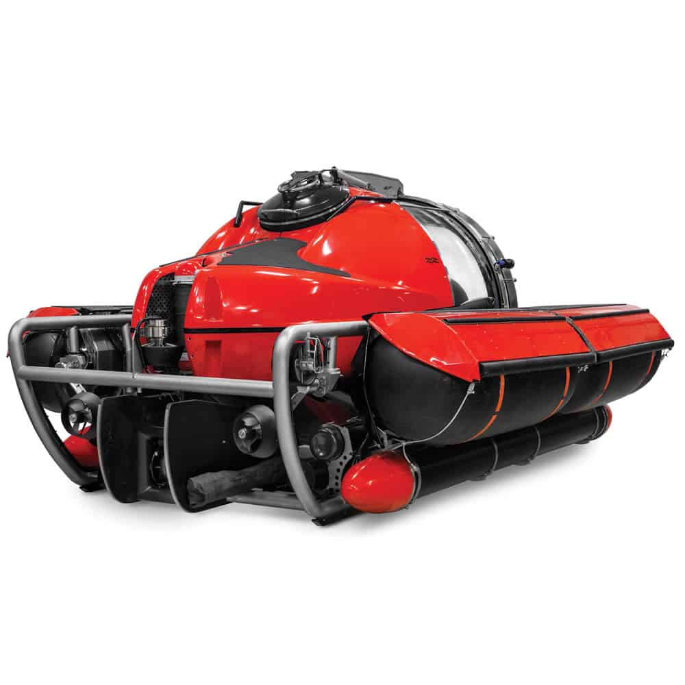 Five Person Exploration Submarine Red Waterecraft Rear Side View