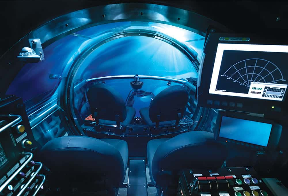 Five Person Exploration Submarine in Deep Sea Interior View with Fancy Controls