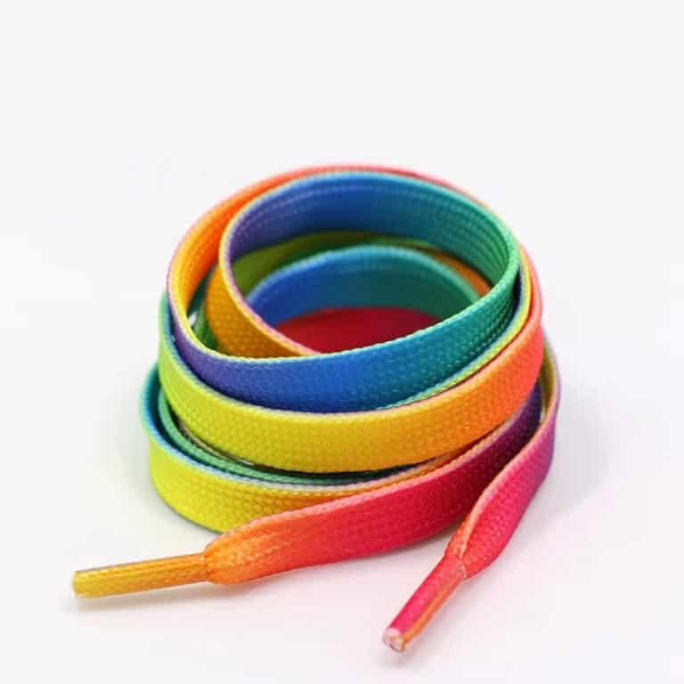 Flat Gradient Print Rainbow Shoe Laces Vibrant Accent